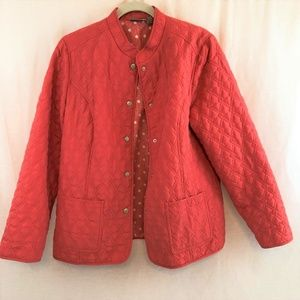Chico's Quilted Jacket Coat Coral 2